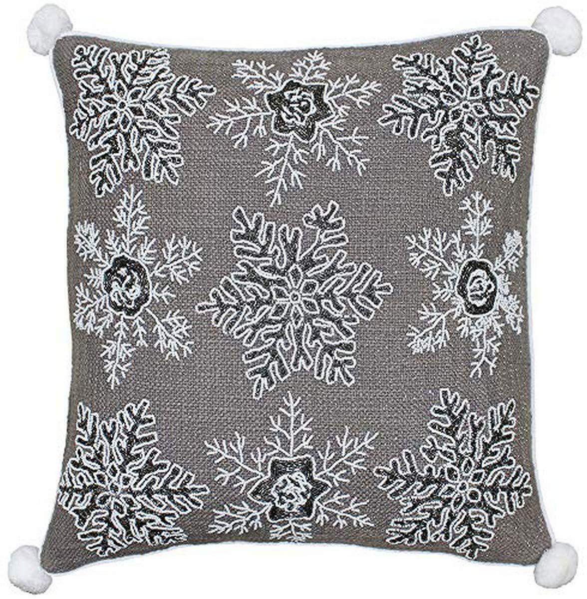 Riva Paoletti biała świąteczna poliestrowa poduszka wypełniona - mokka brązowa - wzór płatka śniegu z cekinami - metaliczna tkanina - Narożniki pomponów - 100% bawełna - 50 x 50 cm (20 cali x 20 cali)