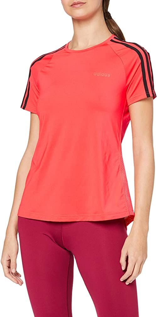 adidas damska koszulka D2M 3S, Shock Rosso, XS 36-38
