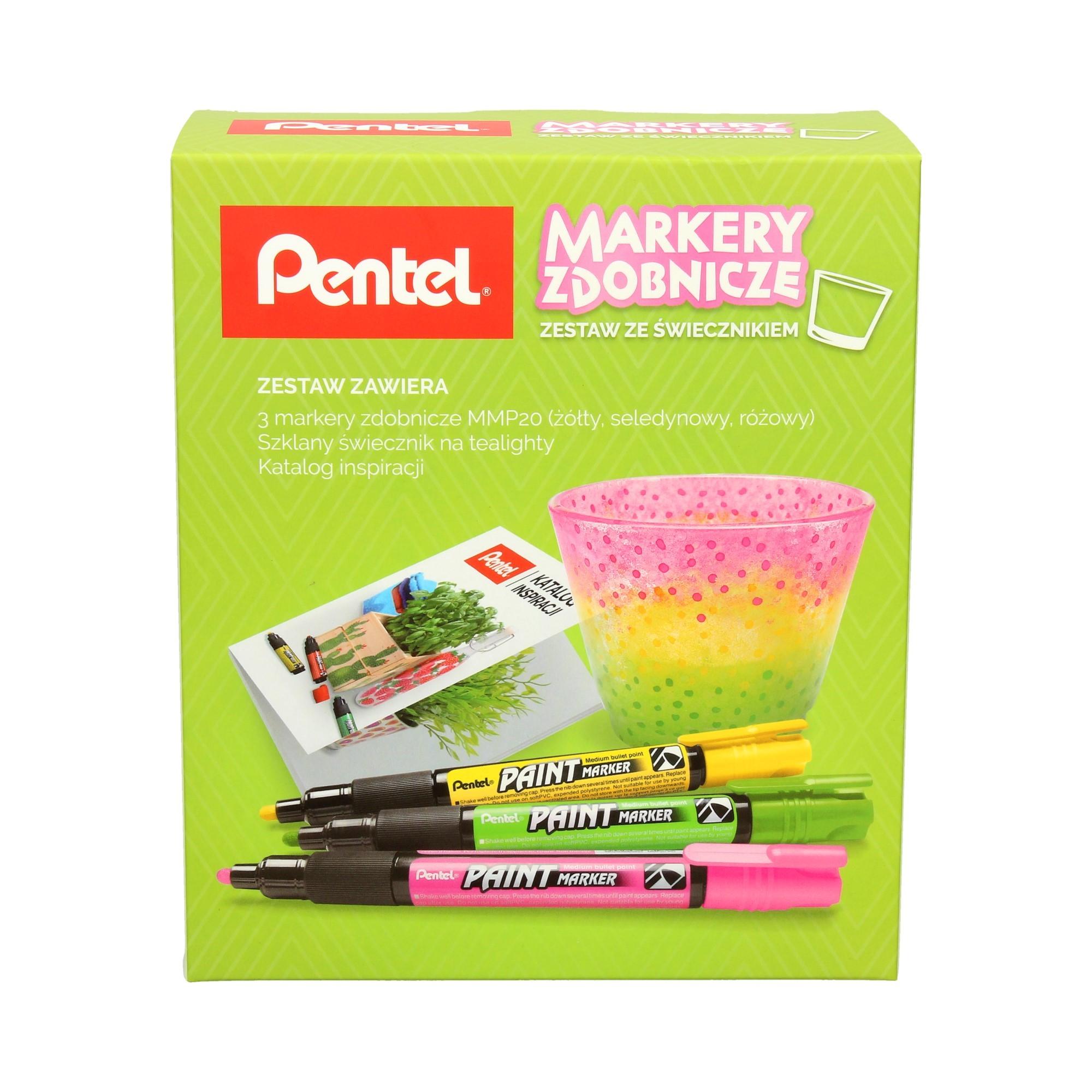 Zestaw markerów zdobniczych - żółty/zielony/różowy + świecznik