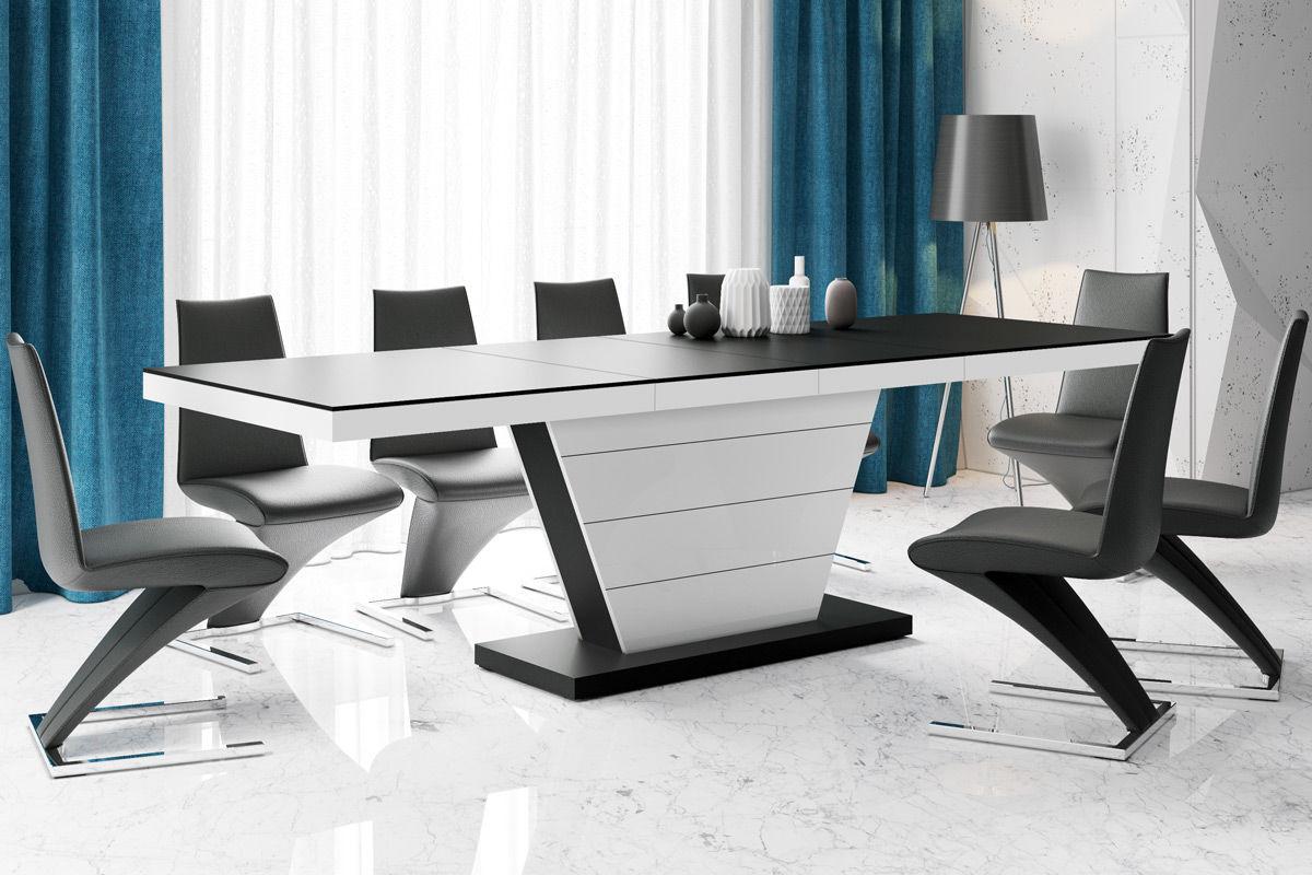 Stół rozkładany Vega czarny mat, biały połysk