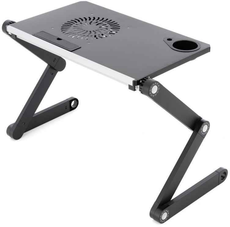 Stolik na laptopa z wentylatorem USB - srebrny czarny