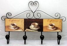 Wieszak metalowy MDF kawa