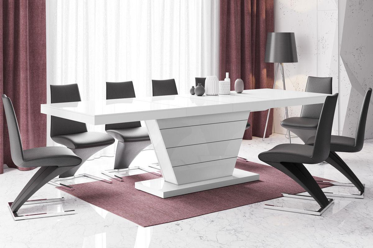 Stół rozkładany Vega biały wysoki połysk