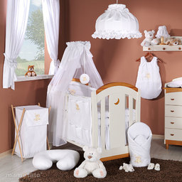 MAMO-TATO Pościel 5-el haft Miś na chmurce w bieli do łóżeczka 70x140cm - Szyfon