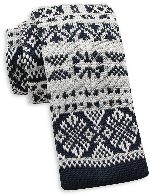 Granatowo-Biały Dziergany, Męski Krawat Knit, 5,5 cm -Alties- Świąteczny, Wzór Norweski, Gwiazdki KRALTS0408