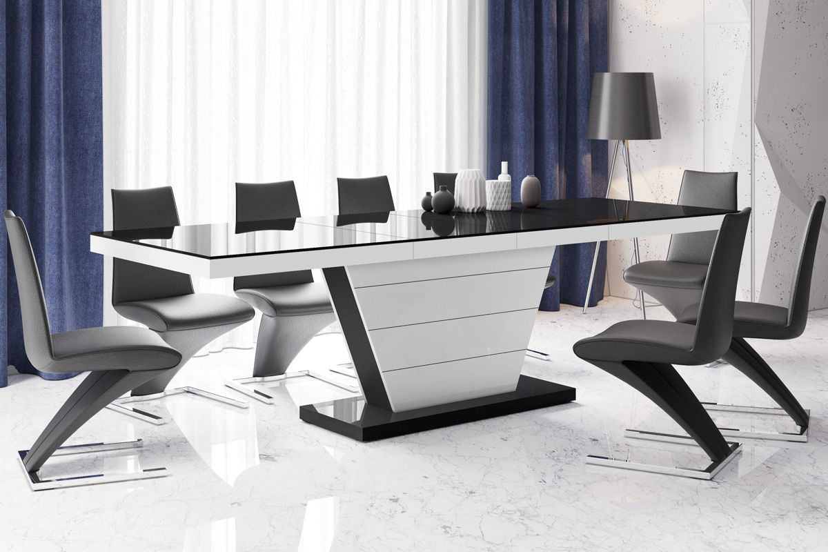 Stół rozkładany Vega czarno-biały wysoki połysk