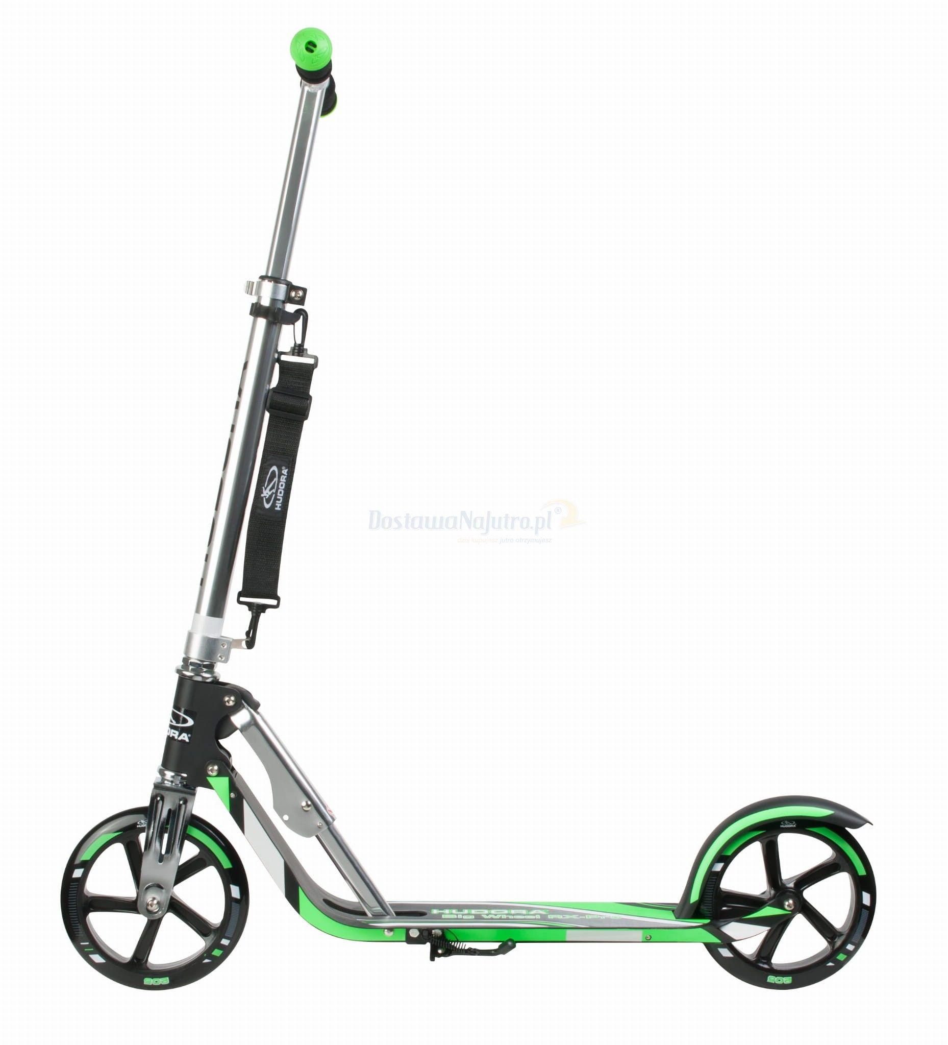 Hulajnoga HUDORA Big Wheel GS 205 czarno-zielona 100kg XXL SKŁADANA