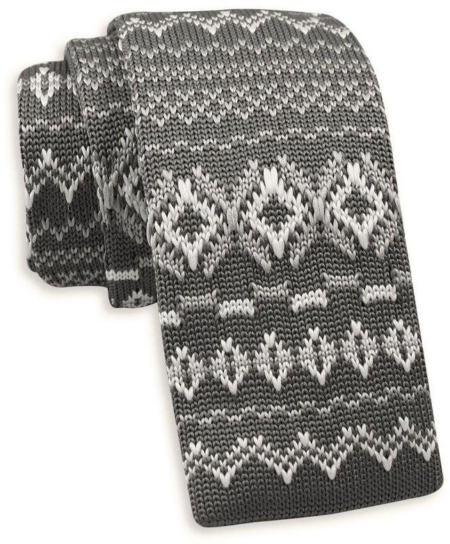Szary Dziergany, Męski Krawat Knit, 5,5 cm -Alties- w Biały Wzór Norweski, Świąteczny KRALTS0407