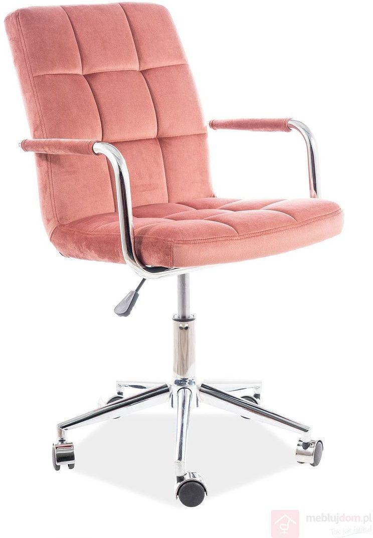 KUPON 10% NA STRONIE  Fotel obrotowy Q-022 Velvet Signal Różowy