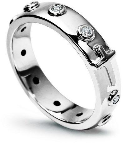Staviori obrączka. krzyżyk. 10 diamentów, szlif brylantowy, masa 0,15 ct., barwa h, czystość si2. białe złoto 0,585. pierścionek różaniec