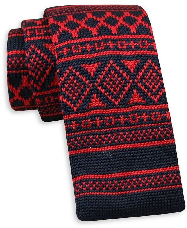 Granatowo-Czerwony Dziergany, Męski Krawat Knit, Wzór Norweski 5,5 cm -Alties- Świąteczny KRALTS0406