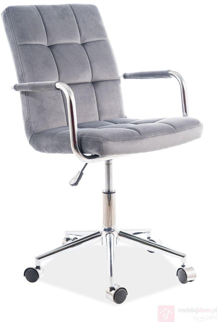 KUPON 10% NA STRONIE  Fotel obrotowy Q-022 Velvet Signal Szary [Wysyłka 2021-05-05]