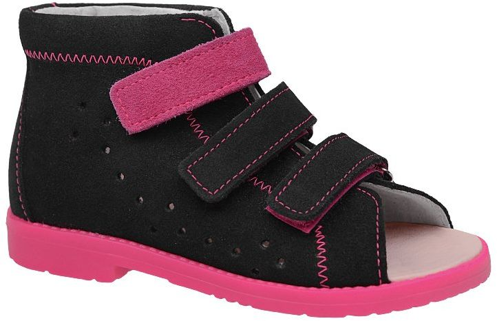 Sandałki Profilaktyczne Ortopedyczne Buty DAWID 1042 Czarne CZR