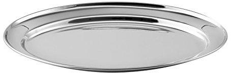Biały półmisek ze stali nierdzewnej, srebrny, 45 x 30 x 2 cm
