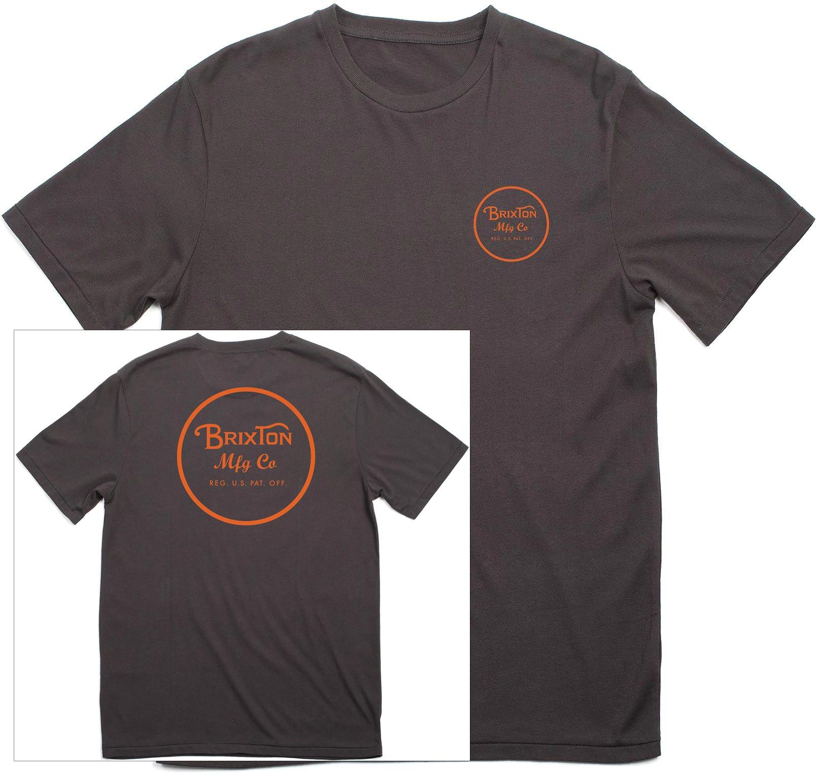 t-shirt męski BRIXTON Wheeler II Tee Washed Black/Orange