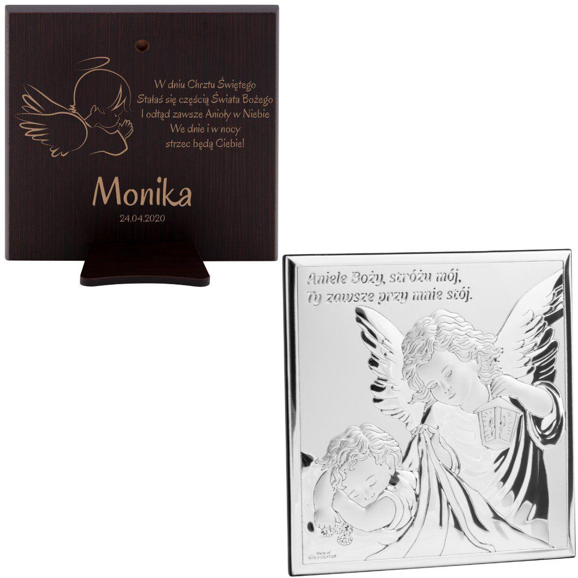 Srebrny obrazek na chrzest z Aniołem Stróżem Prezent z Grawerem