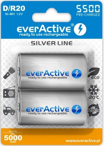 everActive Silver Line R20/D Akumulator Ni-MH 5500 mAh opakowanie 2 szt.