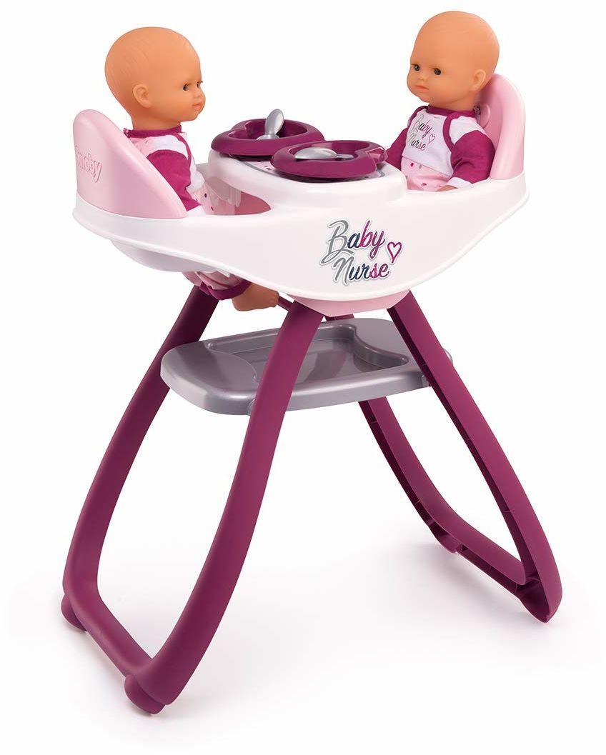 Smoby 220344 podwójne krzesełko dla niemowląt dla lalek i lalek - można przekształcić w bujanie - 4 akcesoria w zestawie