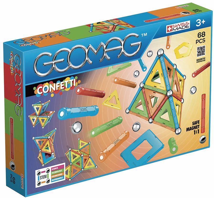 Geomag Confetti Magnetyczna gra konstrukcyjna, wielokolorowa, 68 sztuk