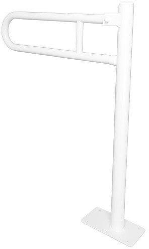 Uchwyt dla niepełnosprawnych uchylny mocowany do podłogi fi 25 60 x 70 cm Faneco stal biała
