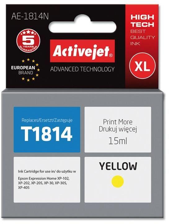 Tusz Activejet AE-1814N (zamiennik Epson 18XL T1814; Supreme; 15 ml; żółty)