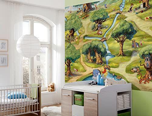 Komar Disney Puchatek Kubuś Sto Acre Tapeta drewniana Mural, Winyl, Wielokolorowa, 254 x 0,2 x 184 cm