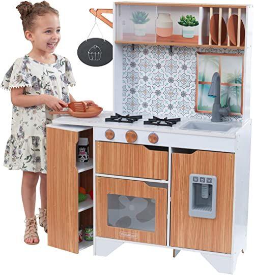 KidKraft 53440 Taverna z efektami świetlnymi i dźwiękowymi z kuchnią do zabawy EZ Kraft Assembly z drewna dla dzieci