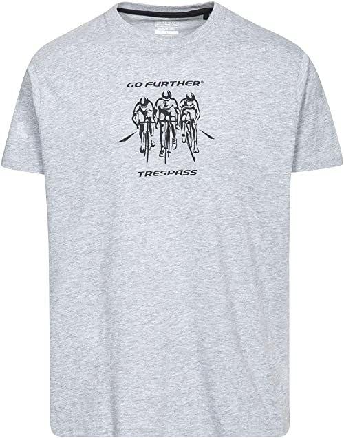 Trespass męski T-shirt z krótkim rękawem z nadrukiem na klatce piersiowej dla mężczyzn/mężczyzn/dorosłych na zewnątrz/do zabawy/sportu/rekreacji Szary melanżowy XXS