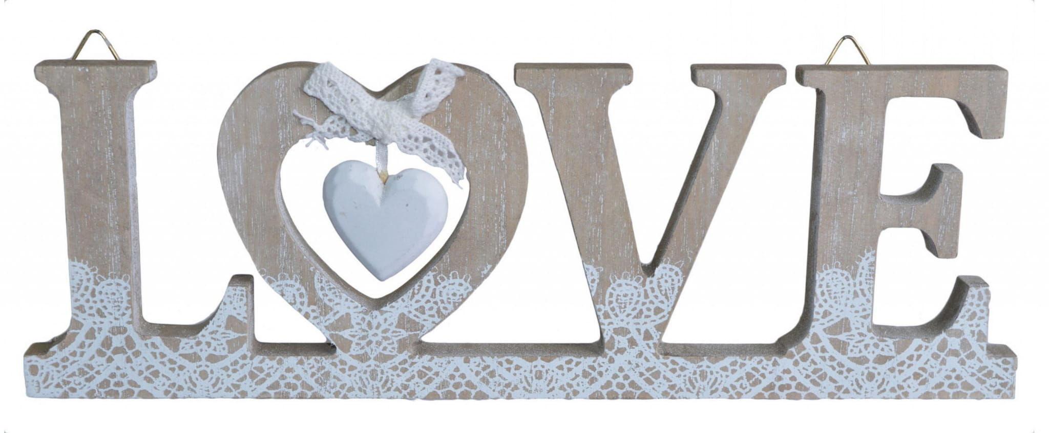 Drewniany napis LOVE z koronką biały