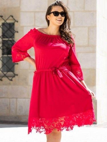 Sukienka hiszpanka TONIA gumeczka i gipiura amarantowa