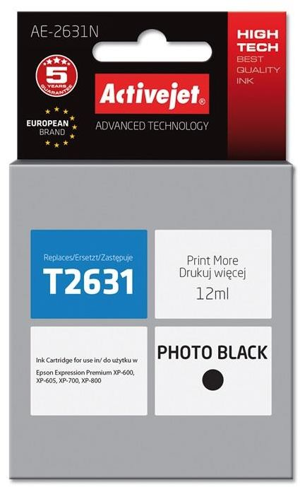 Tusz Activejet AE-2631N (zamiennik Epson 26 T2631; Supreme; 12 ml; czarny)
