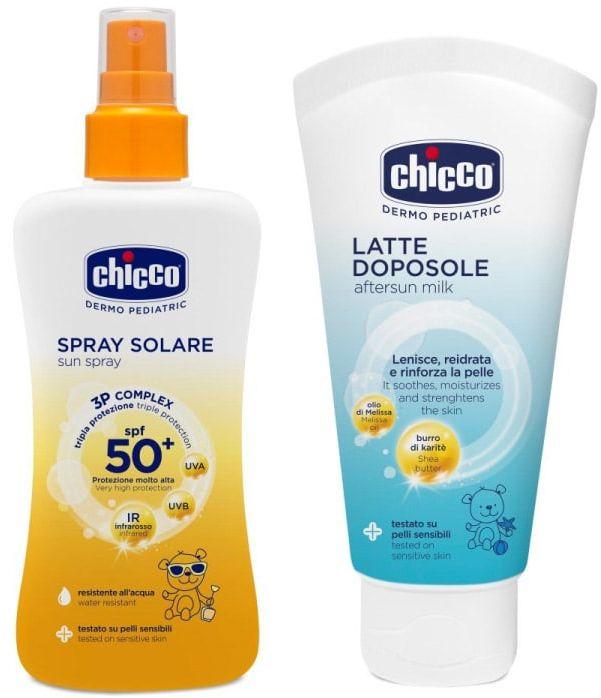 Zestaw Chicco Spray i krem po opalaniu Spray do opalania 50+ 150 ML i krem po opalaniu 150 ML
