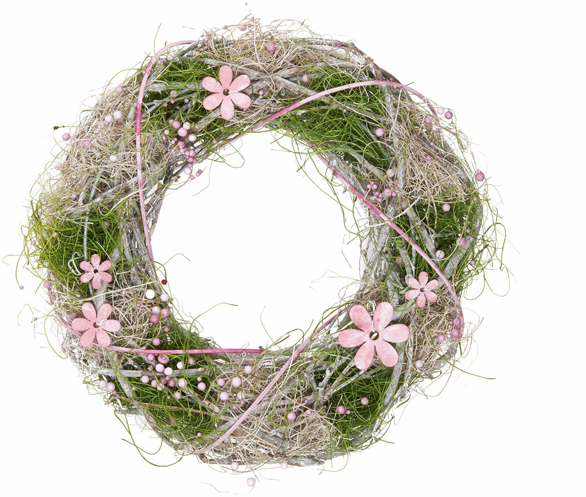 HEITMANN DECO wianek z gałązek z kwiatami i perłami - naturalny - różowy - zielony - wianek na drzwi - wianek ścienny