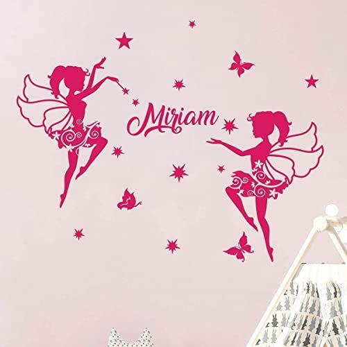 Spersonalizowane naklejki z imieniem naklejki baleriny dekoracja ścienna do pokoju dziecięcego 2 arkusze o wymiarach 30 x 35 cm i 40 x 30 cm fuksja