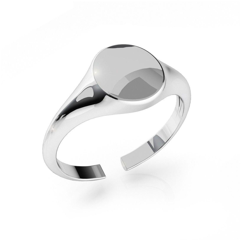 Srebrny sygnet, dowolna litera, grawer, srebro 925 : Litera - R, Srebro - kolor pokrycia - Pokrycie platyną