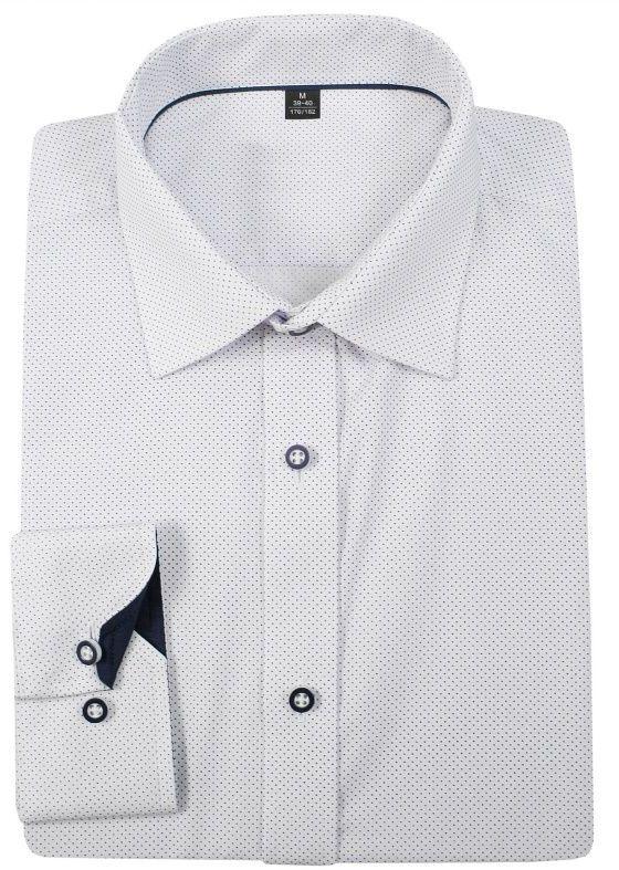 Biała Bawełniana Koszula w Kropki -GRZEGORZ MODA MĘSKA- z Długim Rękawem, Krój Klasyczny KSDWGRZEG0033RGkropki