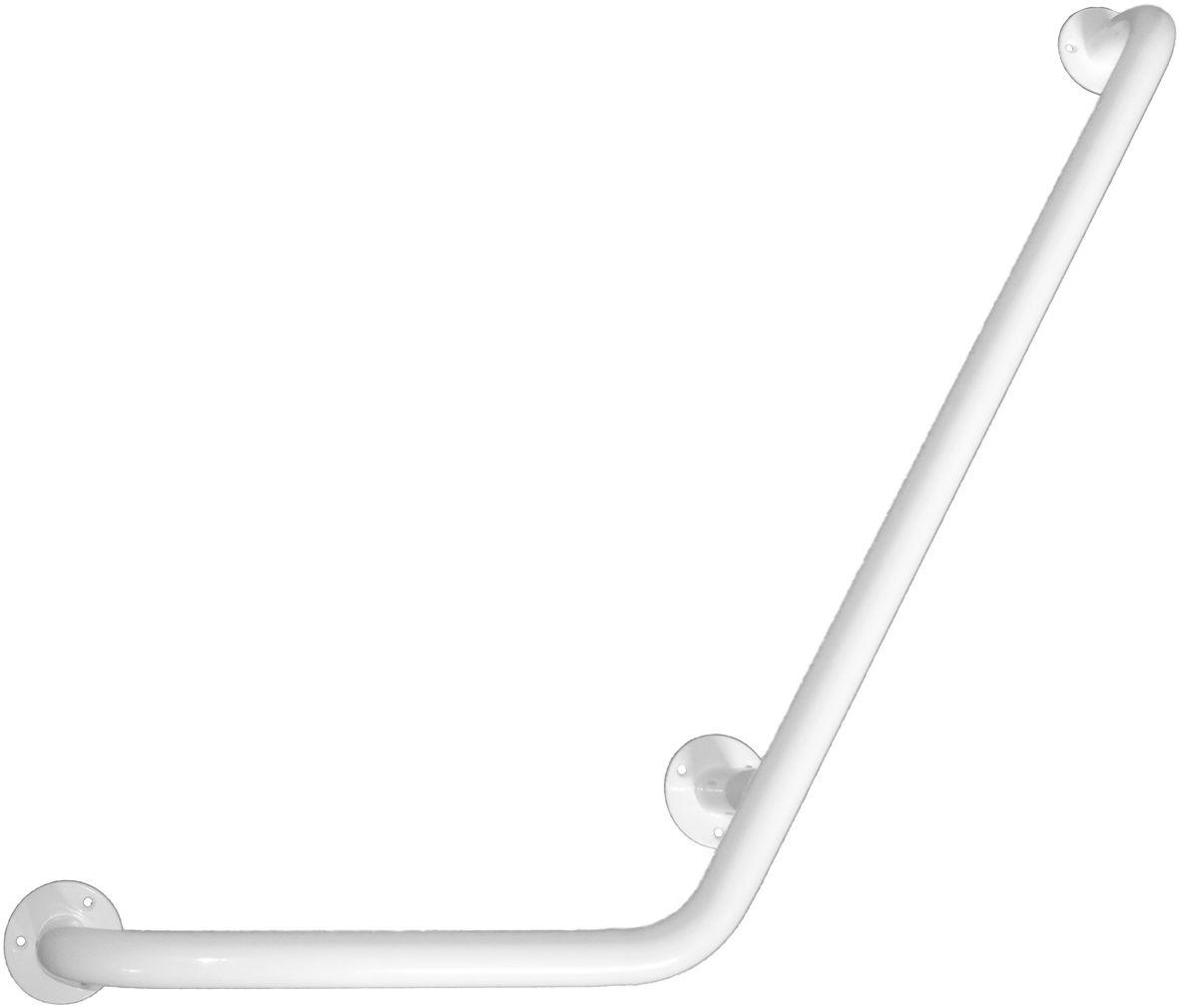 Uchwyt do łazienki dla niepełnosprawnych kątowy prawy fi 25 80 x 40 cm Faneco stal biała