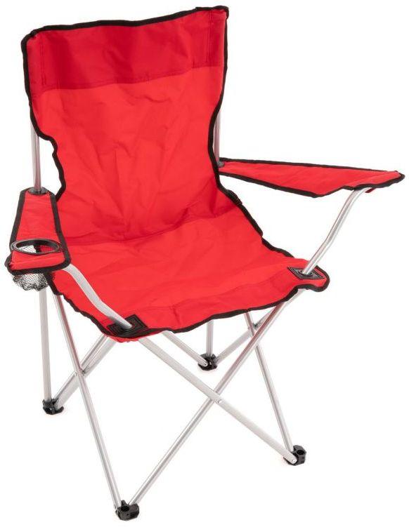Składane krzesło kempingowe z uchwytem na kubek, czerwone