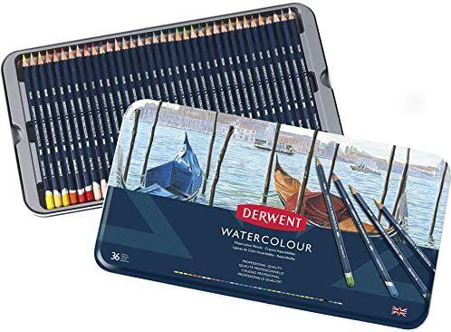 Derwent, 36 Kredek Akwarelowych Derwent Watercolour Pencils, do Rysowania i Malowania, Metalowe Pudełko (32885)