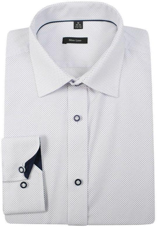 Biała Bawełniana Koszula w Kropki, Groszki -GRZEGORZ MODA MĘSKA- Taliowana, Długi Rękaw KSDWGRZEG0039kropki
