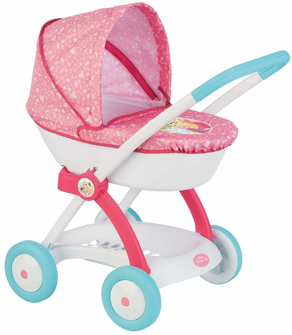 Smoby 254102 Disney Princess wózek dziecięcy dla lalek i lalek ze składanym kapturem i koszem do przechowywania