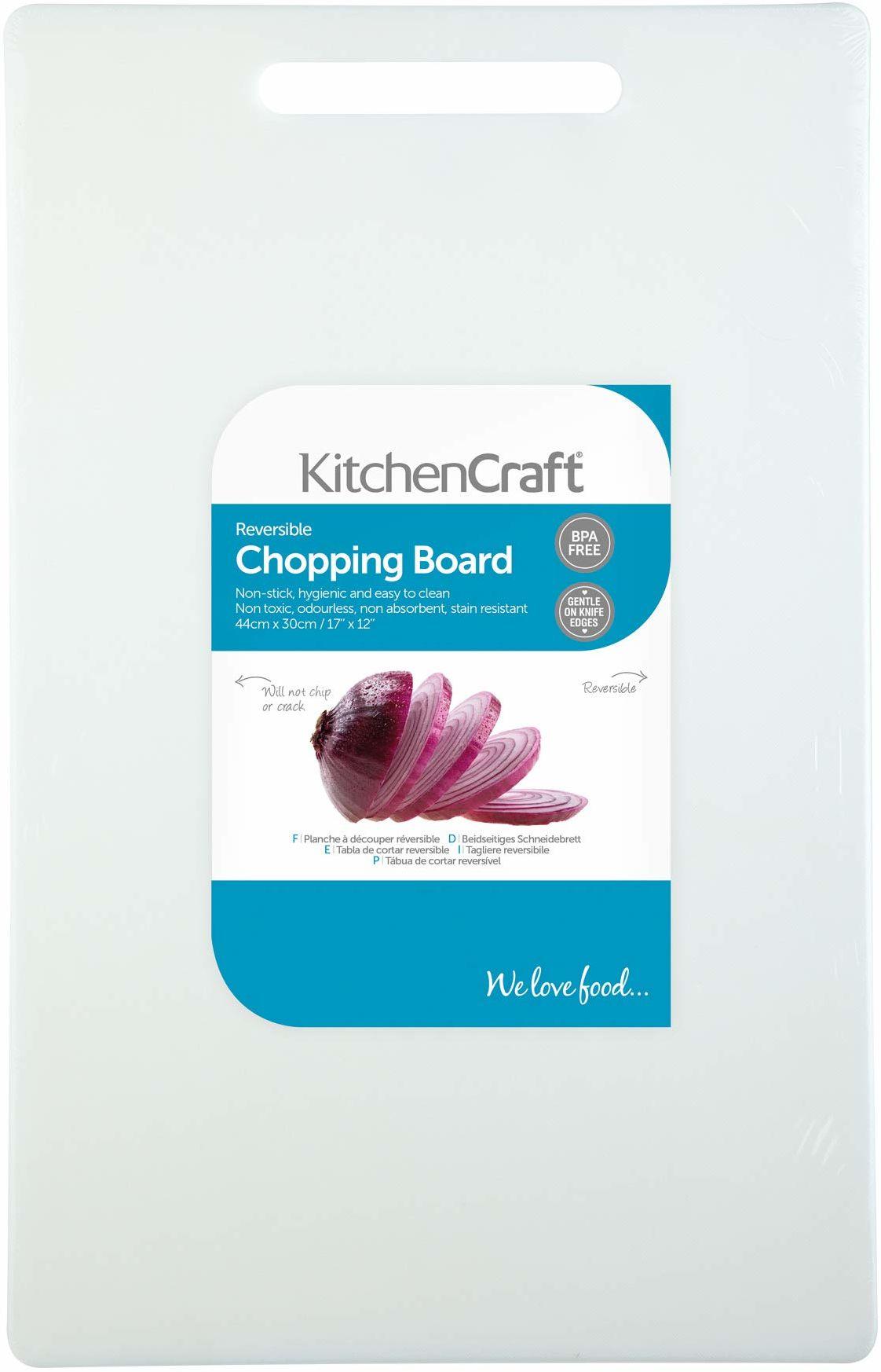 KitchenCraft bardzo duża nietoksyczna plastikowa deska do krojenia 44 x 30 cm (17,5 cala x 12 cali) - biała
