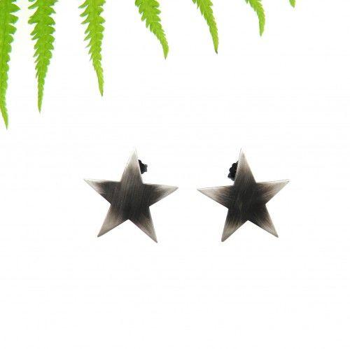 Gwiazdy duże szare na sztyftach - kolczyki srebrne