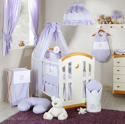MAMO-TATO Pościel 5-el haft Miś na chmurce w fiolecie do łóżeczka 70x140cm - Szyfon