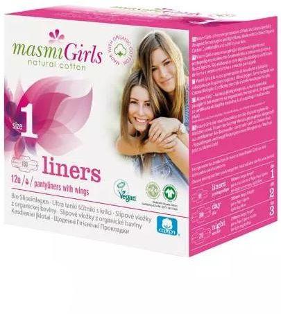 Masmi Girls ultracienkie bawełniane wkładki higieniczne dla nastolatek 12 sztuk