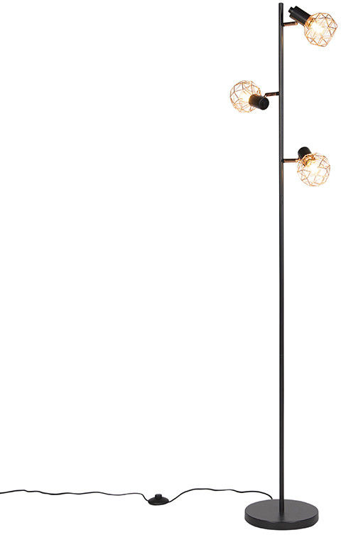 QAZQA Lampa podłogowa czarna-miedź 3-źródła światła - Mesh