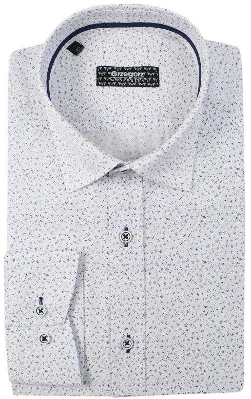 Biała Bawełniana Koszula z Długim Rękawem -GRZEGORZ MODA MĘSKA- Taliowana, w Drobny Wzór KSDWGRZEG0040niebkropki