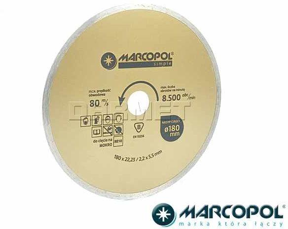 Tarcza diamentowa z nasypem ciągłym, do cięcia na mokro, 180 x 22,23MM - MARCOPOL (Q782)