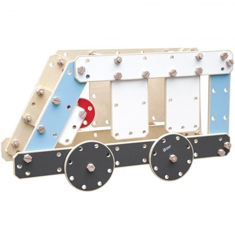 CLASSIC WORLD Ogromne Klocki Konstrukcyjne Drewniane Zestaw Pojazdy Karetka
