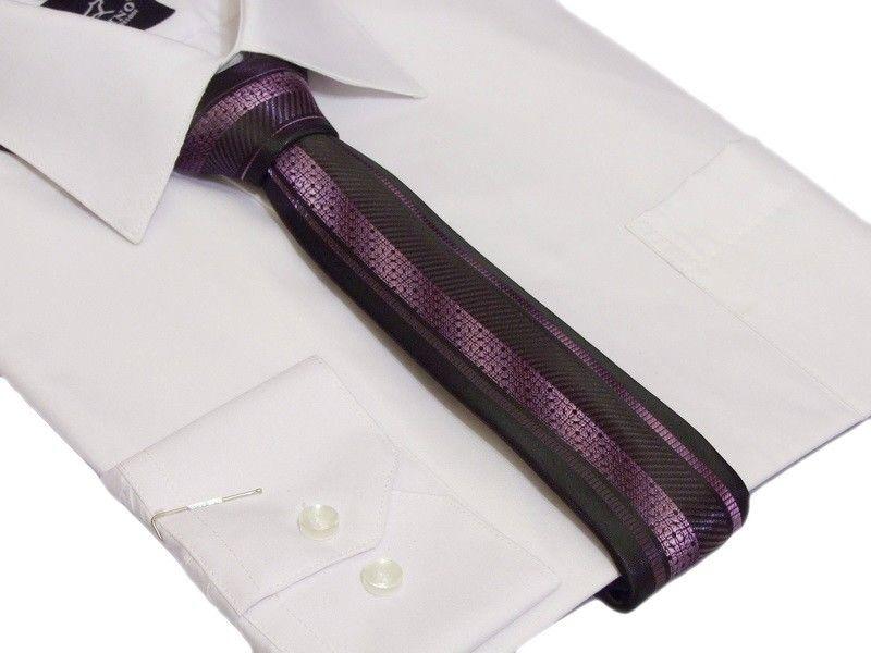 Śledź KRAWAT fioletowy z asymetrycznym czarnym wzorem